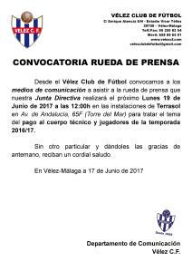 CONVOCATORIA RUEDA DE PRENSA - Pago 2016 17