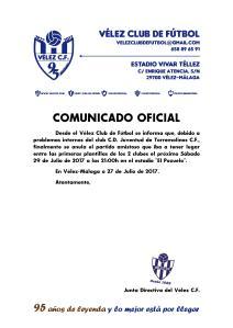 COMUNICADO OFICIAL 95 Juventud Torremolinos