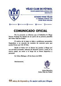 COMUNICADO OFICIAL 95 - Baja de Diego