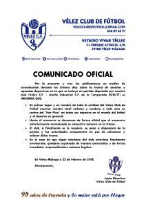 COMUNICADO OFICIAL 95 - Apuestas