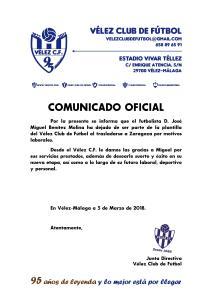 COMUNICADO OFICIAL 95 - Baja de Miguel Benítez