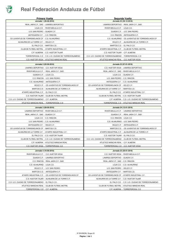 Calendario · Tercera División · Grupo IX · 2018-19-page-002