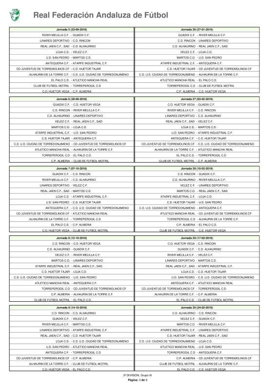 Calendario · Tercera División · Grupo IX · 2018-19-page-003