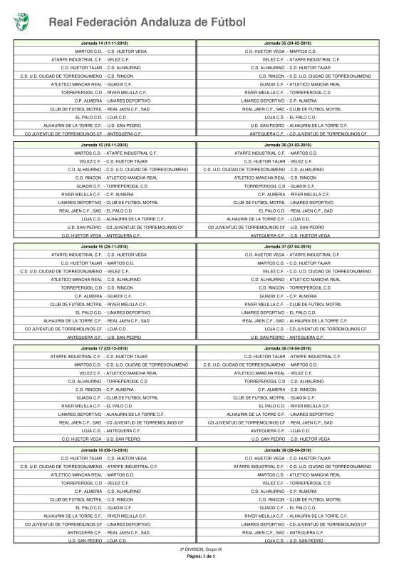 Calendario · Tercera División · Grupo IX · 2018-19-page-005