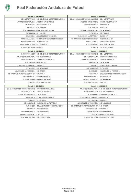 Calendario · Tercera División · Grupo IX · 2018-19-page-006